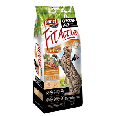 تصویر غذای خشک Panzi مخصوص بچه گربه با طعم مرغ و ماهی و کرنبری