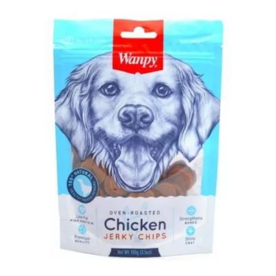 تصویر تشویقی  Wanpy مدل chicken jerky chipsتهیه شده از مرغ مخصوص سگ-100گرم