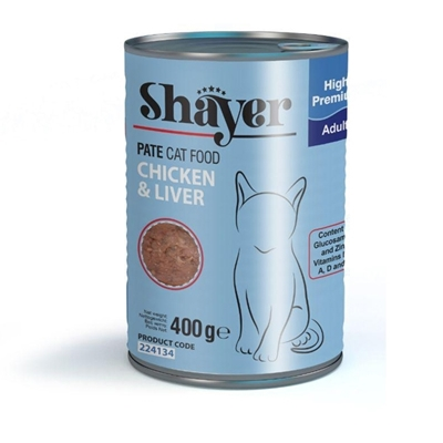تصویر کنسرو پته Shayer مخصوص گربه با طعم مرغ و جگر - 400 گرم