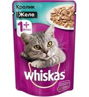 تصویر پوچ Whiskas مخصوص گربه بالغ تهیه شده از گوشت خرگوش به همراه ویتامین و مواد معدنی در ژله
