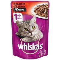 تصویر پوچ Whiskas مخصوص گربه بالغ با طعم گوشت گوساله به همراه ویتامین و مواد معدنی در ژله