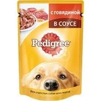 تصویر پوچ Pedigree مخصوص سگ بالغ تهیه شده از گوشت گاو در سس - 100 گرک