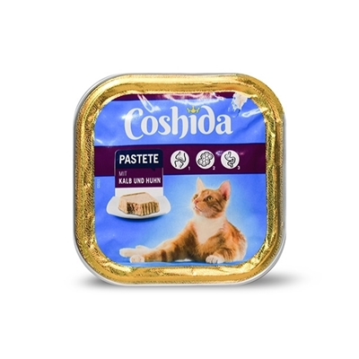 تصویر ووم مخصوص گربه Coshida تهیه شده از  ژامبون و مرغ - 100 گرم