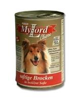 تصویر کنسرو MyLord مخصوص سگ بالغ تهیه شده از کوشت گوساله و جگر 415 گرمی