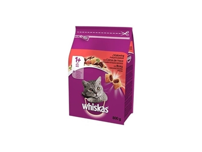 تصویر غذا خشک Whiskas مخصوص گربه بالغ تهیه شده از گوشت گوساله 800 گرم