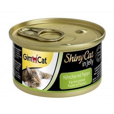 تصویر کنسرو مخصوص گربه Gimcat مدل Shiny Cat تهیه شده از گوشت مرغ و پاپایا - 70 گرم