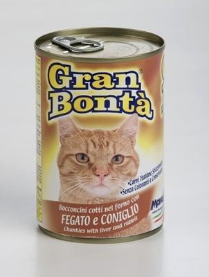 تصویر کنسرو Monge Gran Bonta مخصوص گربه بالغ تهیه تکه های جگر مرغ و گوشت خرگوش - 415گرم