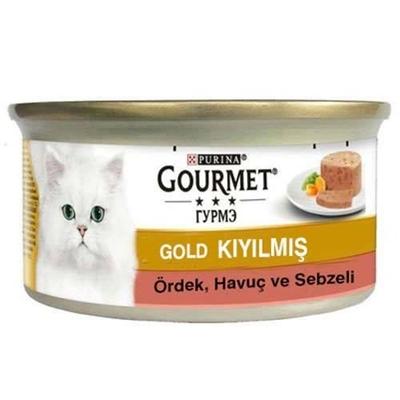 تصویر کنسرو مخصوص گربه بالغ Gourmet Gold تهیه شده از گوشت اردک هویج و سیب زمینی-85 گرم