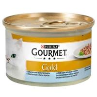تصویر کنسرو مخصوص گربه بالغ Gourmet Gold تهیه شده از ماهی در سس اسفناج -85 گرم