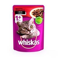 تصویر پوچ Whiskas تهیه شده ازگوشت گاو مخصوص گربه -100گرم