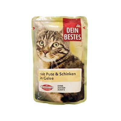تصویر پوچ گربه Dein bestes مخصوص گربه تهیه شده از مرغ و بوقلمون-100گرم