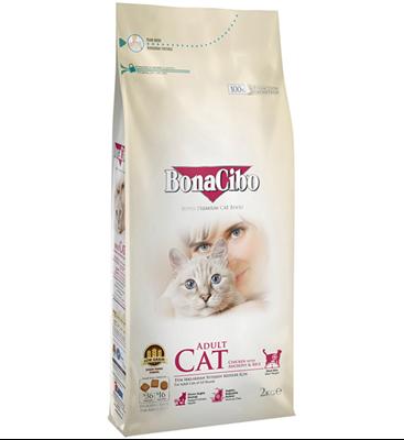 تصویر غذای خشک Bonaciboمخصوص گربه بالغ تهیه شده ازمرغ ماهی برنج-2کیلوگرم