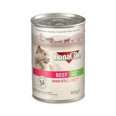 تصویر کنسرو Boncibo مخصوص گربه مدل chunks in jelly تهیه شده ازگوشت گاو-400گرم