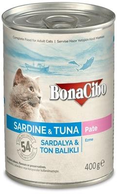 تصویر کنسرو پته Bonacibo مخصوص گربه بالغ تهیه شده از ماهی ساردین وماهی تن-400گرم