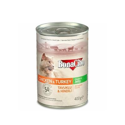 تصویر کنسرو مخصوص گربه بالغ مدلChunkys in jellyتهیه شده از مرغ و بوقلمون-400گرم