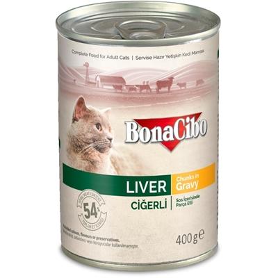 تصویر کنسرو مخصوص گربه بالغ Bonaciboمدل chunks in gravyتهیه شده از جگر-400گرم