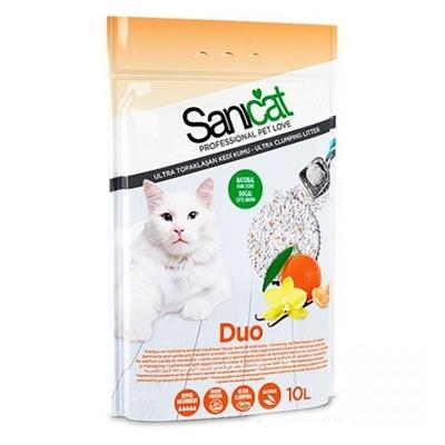تصویر خاک گربه SaniCat مدل DouWhite با رایحه نارنگی و وانیل 10 لیتری