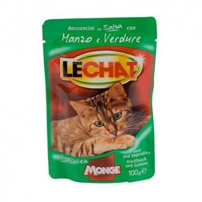 تصویر پوچ Lechat مخصوص گربه بالغ با طعم گوشت گوساله و سبزیجات