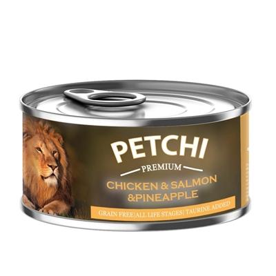 تصویر کنسرو  Petchi تهیه شده از مرغ,ماهی سالمون,آناناس مخصوص گربه-120گرم