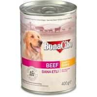 تصویر کنسرو Bonacibo مدل chunks in gravy مخصوص سگ تهیه شده از گوشت گاو-400گرم