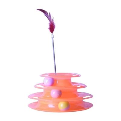 تصویر اسباب بازی طبقه ای گربه همراه با فنر پر دار و توپ